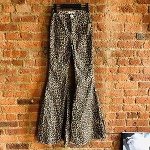 Free People Leopard Flare Jeans